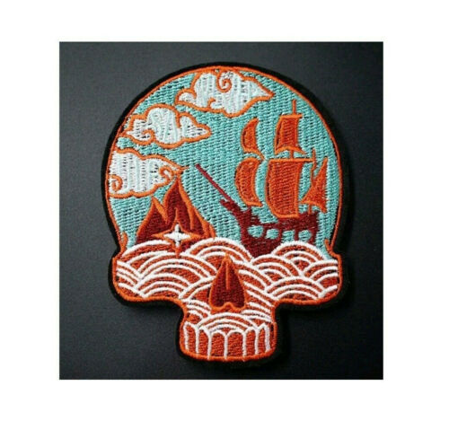 Pirate Ship Ghost Ship Skull Embroidered Iron On Applique Patch Pirates