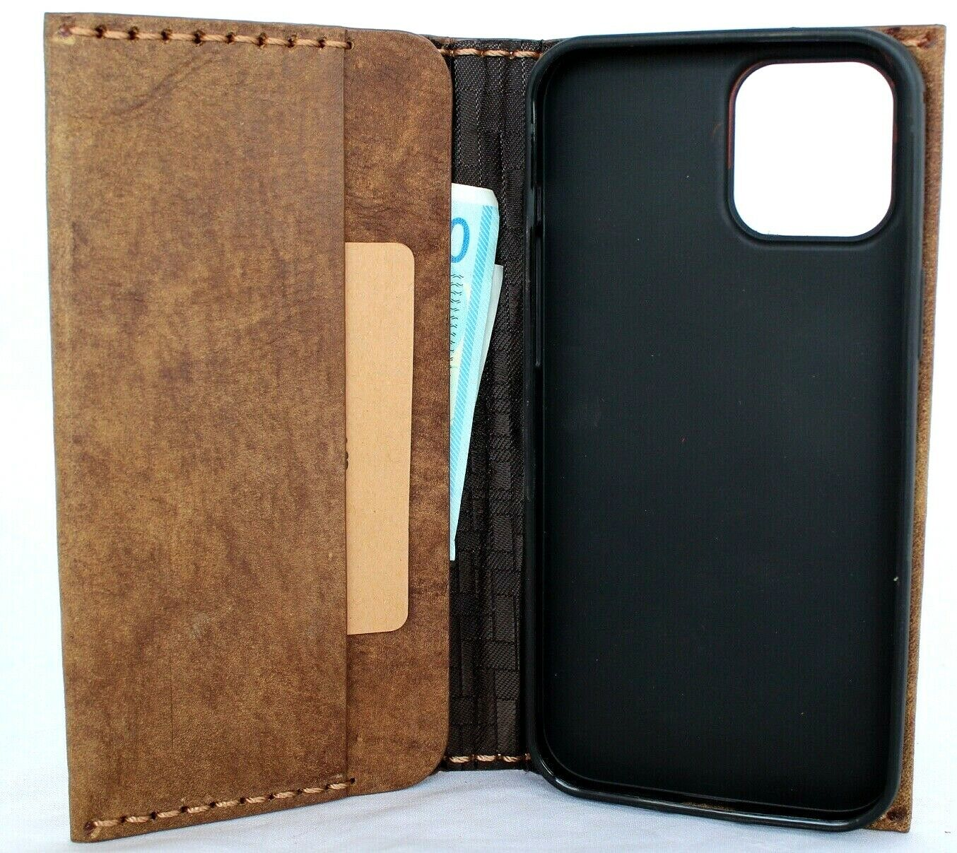 Image 81 - Genuine Full Grain Leather Case For Apple iPhone 11 Pro Max Wallet Cover Book De
