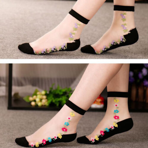 Comfy Sheer Thin Transparent Black Lace Ruffle Ankle Socks Women Crystal 2019