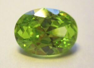 1 CZ leuchtend grün 12x10 mm Peridot oval Cubic Zirkonia synthetische Edelsteine