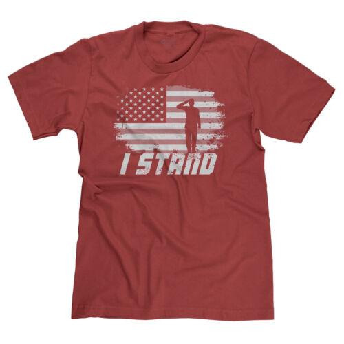 I STAND FOR AMERICAN FLAG PATRIOTIC RESPECT MAGA USA FOOTBALL T-SHIRT TEE