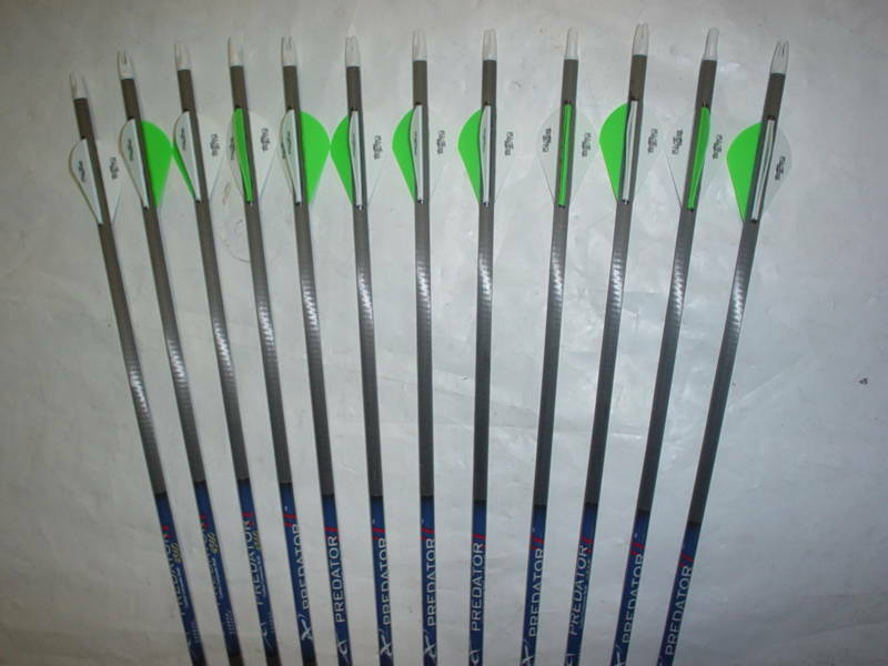 12 CARBON EXPRESS PREDATOR II 4560 CARBON ARROWS & BLAZER VANES  WILL CUT