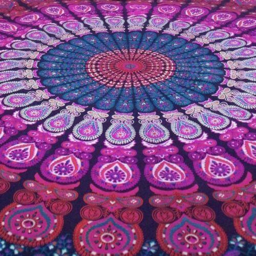 PURPLE Round 72/'/' Yoga Mat Table Cloth Gift Beach Sheet Peacock TAPESTRY BOHO