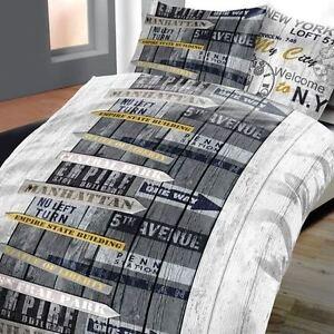 2tlg bettw sche mikrofaser vintage retro manhatten grau gelb 135x200cm neu rv ebay. Black Bedroom Furniture Sets. Home Design Ideas