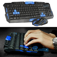 Reino Unido 2.4 ghz Inalámbrico Multimedia Usb Gaming Keyboard + 2400dpi 6 Botones Mouse Set