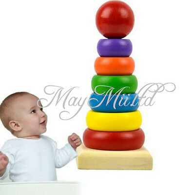 Primary Childrens Baby Wooden Educational Stacking Block Toy Tower Rainbow H