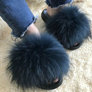 66e8337f84d5 Ocean Blue  Large Real Raccoon Fox Fur Slides Slipper Sandals Flat ...
