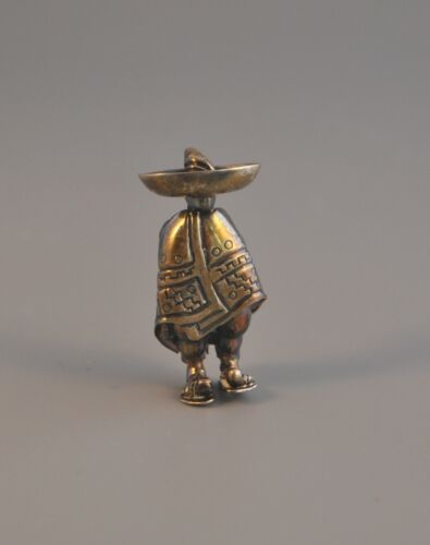 Vintage Mexican Sterling Silver Pin - Man in Sombr