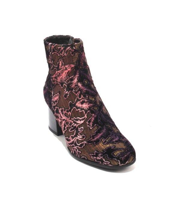 Les Trois Garcons 81600 Multi-color Velour Leather Zip Ankle Boots 38   US 8