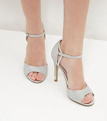 New Look Talla 3 4 5 6 7 8 9 Plata Brillante Novia Ocasión Especial Zapatos Sandalias