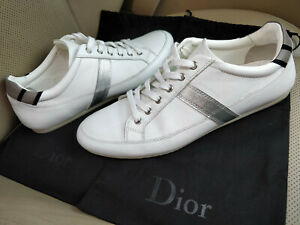 Christian-Dior-HOMME-White-Leather-Mens-Low-Top-Sneakers-Shoes-Trainers-Stripe