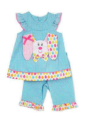 New Rare Editions EASTER Seersucker Bunny Outfit Set Toddler Girls SZ 4T 5 6