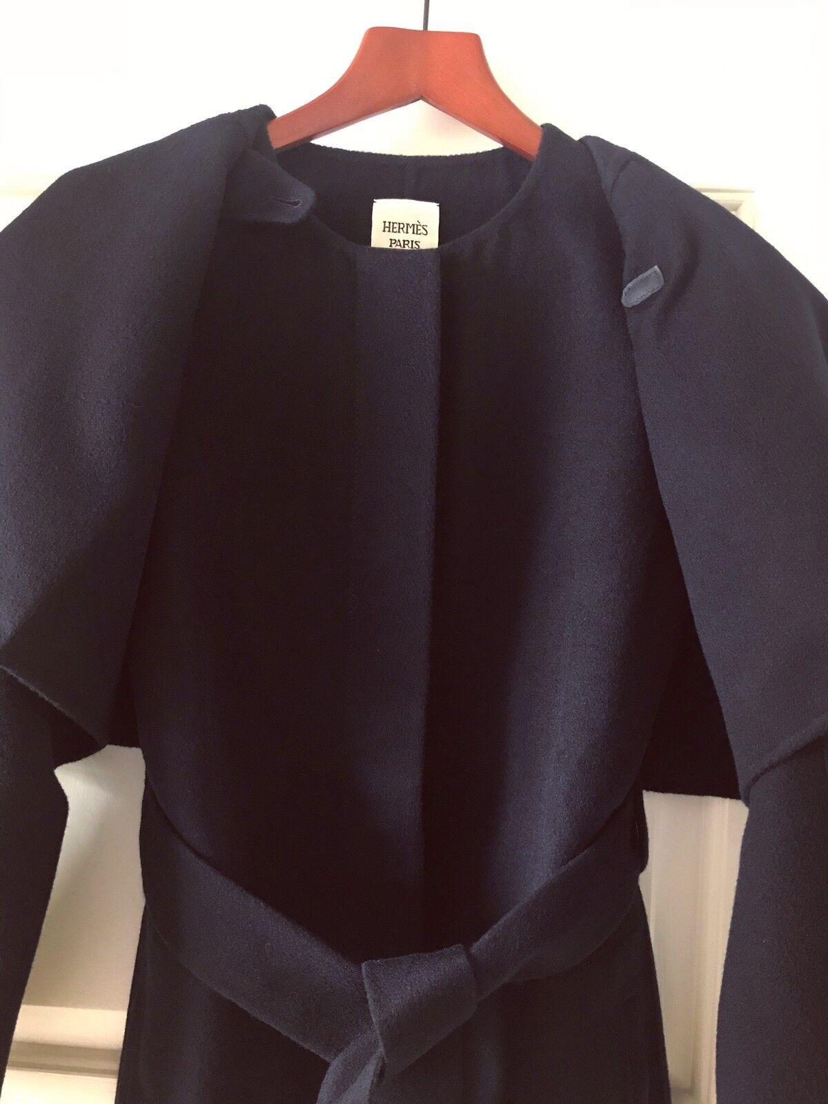 Authentic Authentic Authentic Hermes Double Face Cashmere Two-piece Navy bluee Coat Sz 36 2a901b