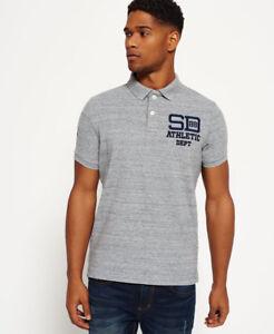 New Mens Superdry Coaches Polo Shirt Flint Grey Grit