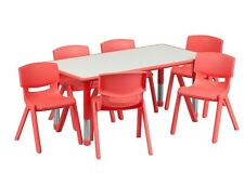 Kids Activity Table and Chairs Set Adjustable Stackable Daycare Preschool Red