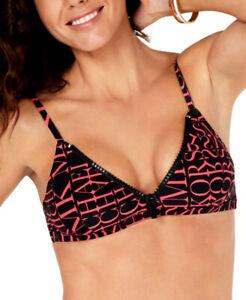 MICHAEL-KORS-Women-039-s-Logo-Print-Zipper-Bikini-Top-sz-L-Large-Neon-Pink-Black