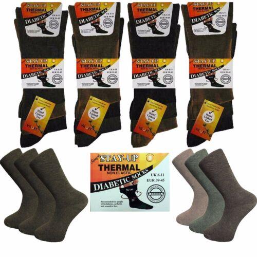 3 Homme Stay-up Coton VILOFT ® thermique non élastique Diabetic Socks UK 6-11