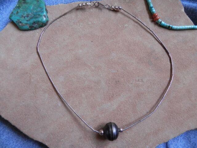 "Stamped Navajo Pearl bead & Liquid Silver Necklace Choker 14.25"" Navajo"