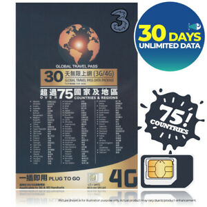 ITALY-amp-75Countries-30Day-UNLIMITED-DATA-3-THREE-Prepaid-SIM-CARD-HOTSPOT-Europe