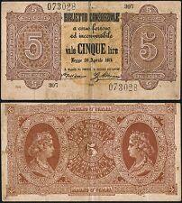 Biglietto Consorziale da 5 Lire 1874