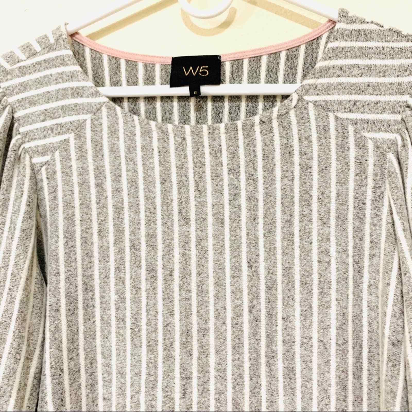 ANTHROPOLOGIE W5 striped puffed shoulder blouse s… - image 4