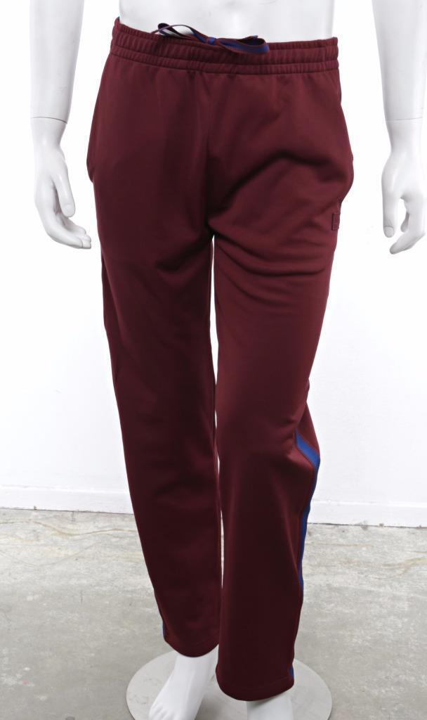 ACNE Mens Burgandy Blue Side Stripe NORWICH Face Lounge Track Pants NEW S