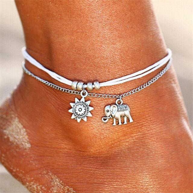 Boho Silver Elephant Anklet Ankle Bracelet Chain Barefoot Sandal Beach Jewelry