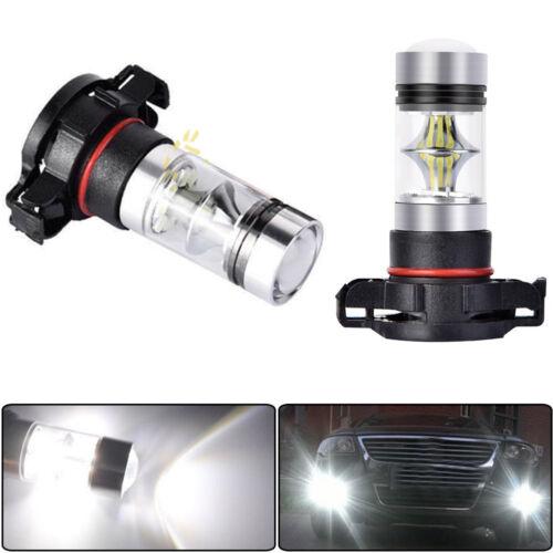 Pair H16 5201 5202 9009 PS24WFF 6000K White 100W LED Fog Light Driving Bulb DRL