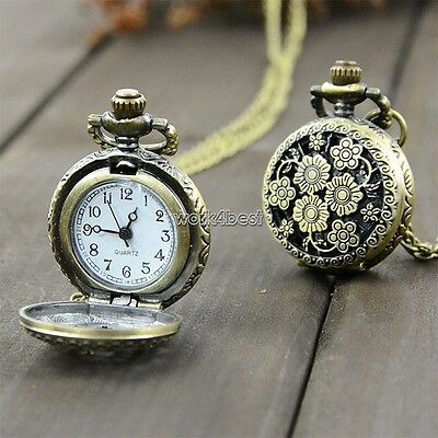 Hot Bronze Chrysanthemum Flowers Hollow Pocket Watch Quartz Pendant Steampunk
