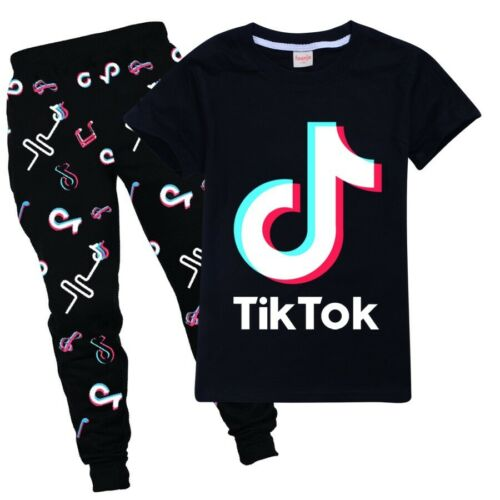 Pants Suit Kid Boy Girl Birthday Gift 2x TikTok Cotton Home Tops Short T-Shirt