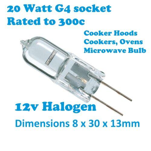 Falcon 12v Lampada Luce Alogena G4 Forno Fornello Cappa Estrattore LAMPADINA 20W