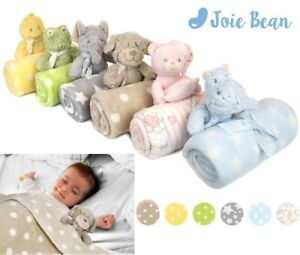 Baby Newborn Cute Soft Fleece Blanket Set with Plush Teddy Bear for Girls Boys