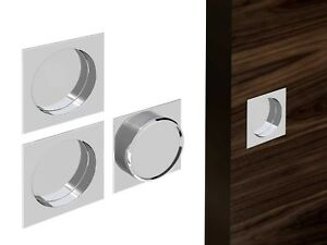 Flush-Recessed-Sliding-Door-Square-Handle-Set-Chrome-Satin-Nickel-Brass