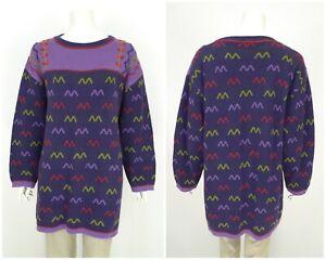 Womens-Gudrun-Sjoden-Vintage-Sweater-Tunic-Jumper-Cotton-Purple-Long-Size-XL