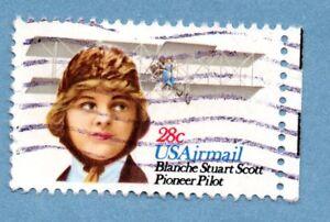 Sello de Estados Unidos 1980 pioneros en aviación SG A1839 Blanche Stuart Scott