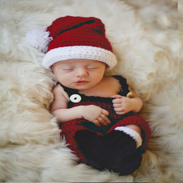 00667c990 Newborn Baby Gril Christmas Crochet Outfits Photography Costume Photo Props  Cute