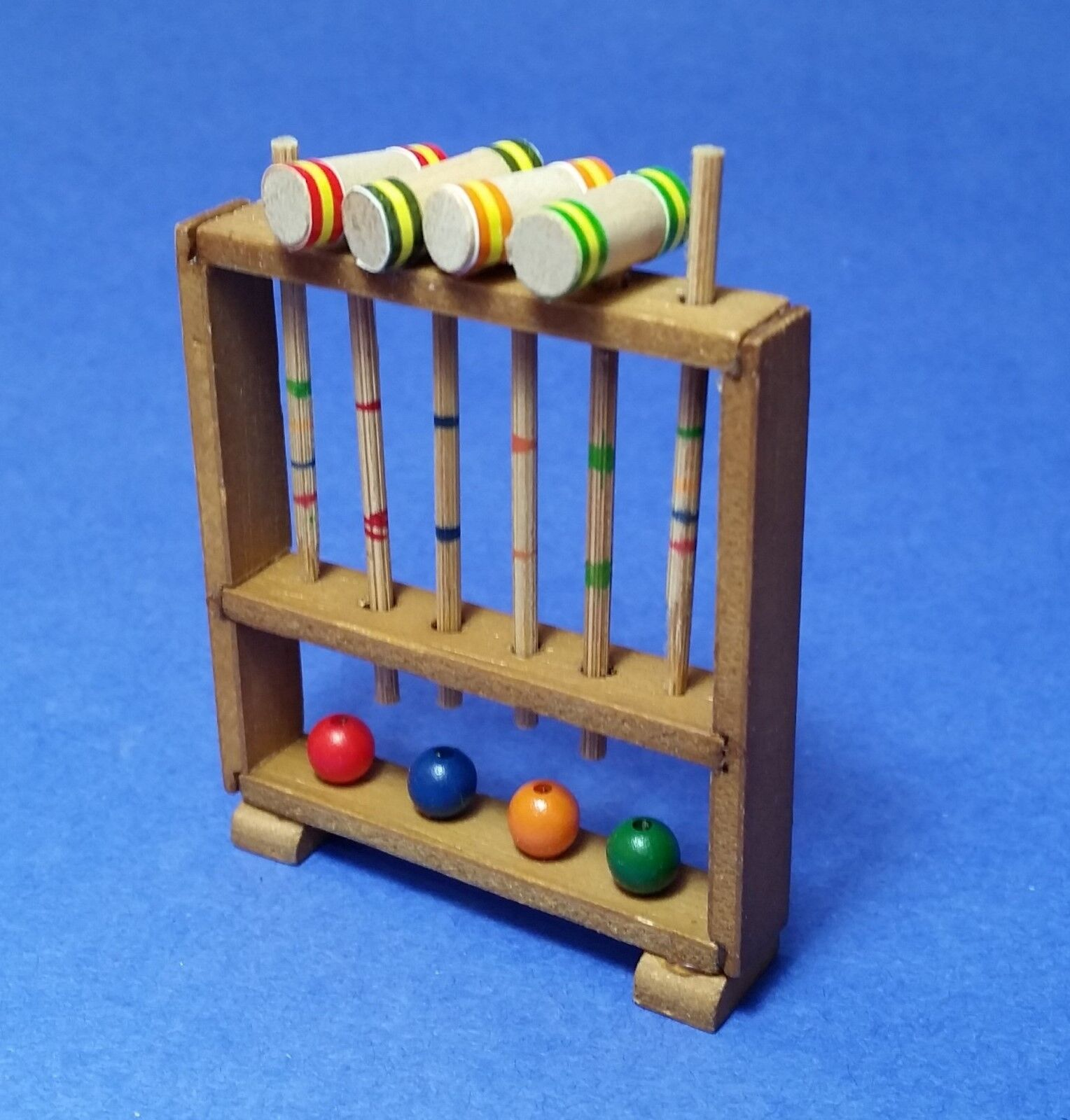 1:12 Scale Wooden Croquet Set Tumdee Dolls House Miniature Toy Garden Accessory