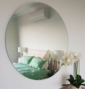 Image Is Loading Round Frameless Polished Edge Wall Mirror Bathroom Or