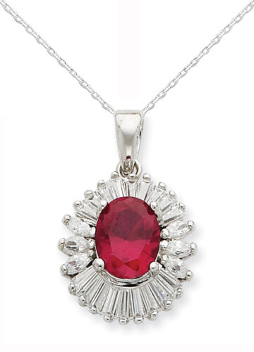 """Sterling Silver Pendant CZ Red /& Baguettes Stones w//18/"""" Chain Gift Boxed"""