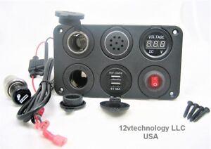 Battery-12V-Voltmeter-Switch-4-8A-USB-Charger-Voltage-Alarm-Plug-amp-Socket