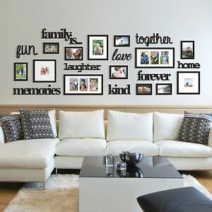 22 pcs word family is photo picture frame collage set black home wall art decor 663157248260 ebay. Black Bedroom Furniture Sets. Home Design Ideas