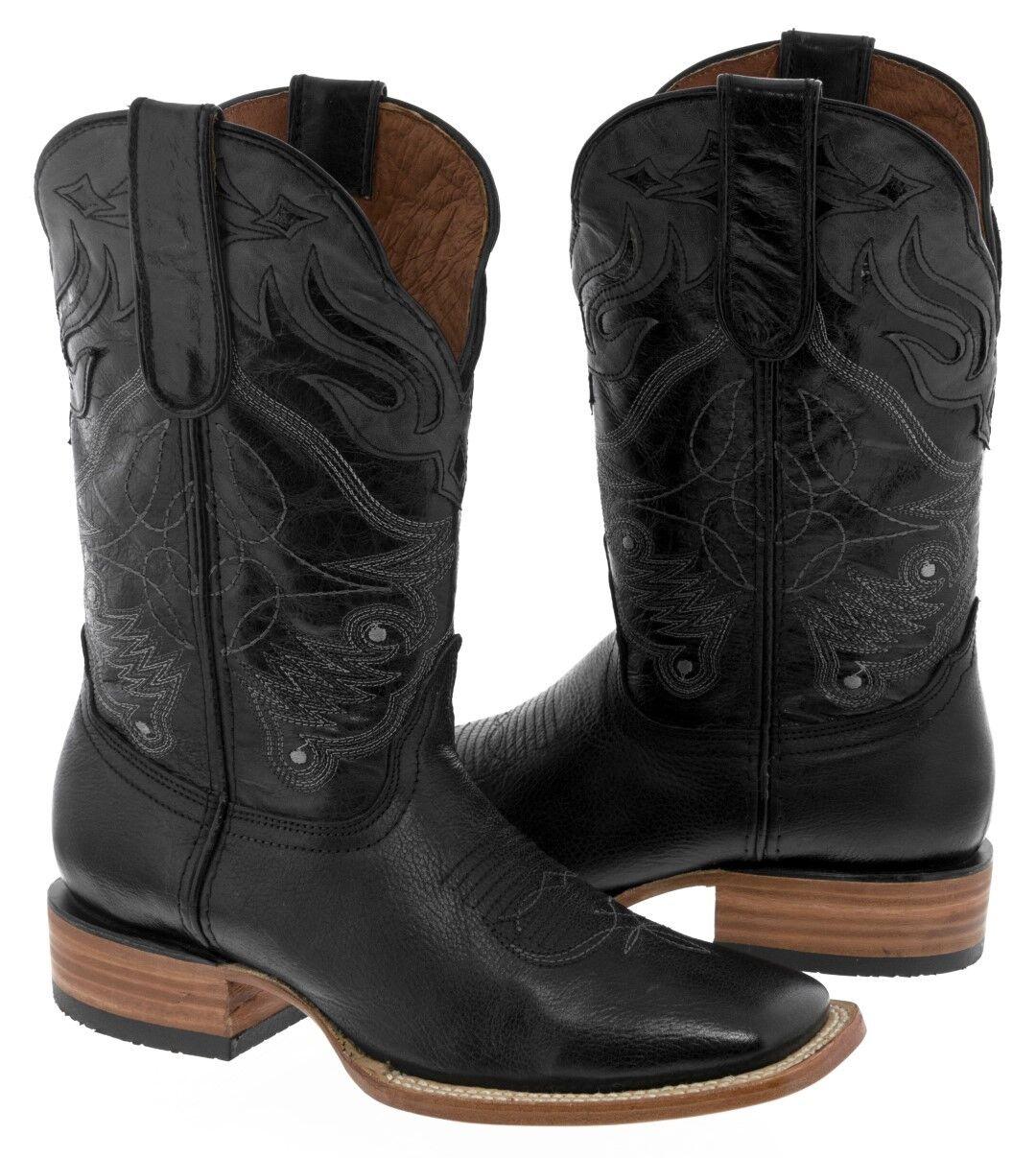 Para hombres cuero genuino Diseño de superposición de Negro botas De Vaquero Puntera Cuadrada Oeste Rodeo