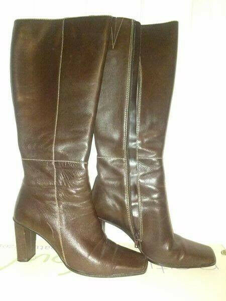 Karen Scott Tempest chocolate brown leather knee boots size 7