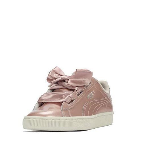 Junior Girls Puma Basket Heart Metallic Pack Rose Gold Trainers 366035 03