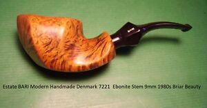 Estate BARI Modern Handmade Denmark 7221 Ebonite Stem 9mm 1980s Beauty   20-973