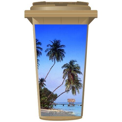 Palmiers sur la plage Wheelie Bin Sticker Panel