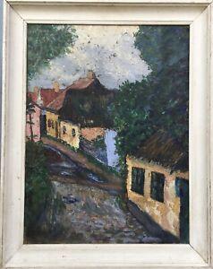 Impressionist-Axel-Jorgensen-Denmark-Village-Street-with-Houses-59-x-46-cm