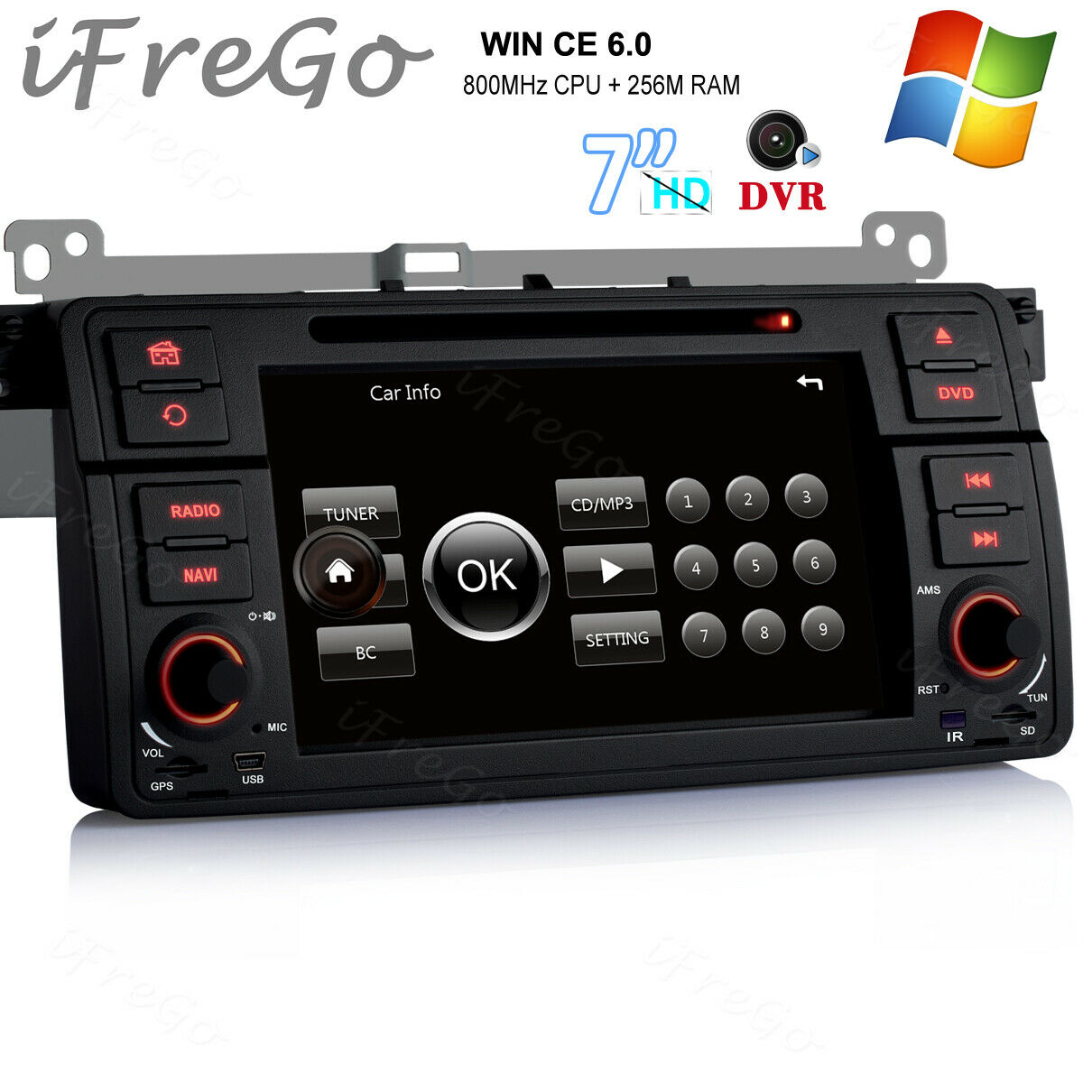 "autoradio: Per BMW E46 M3 318 320 325 7"" HD Autoradio Navigazione DVD USB RDS MP3 DAB+ DVD"