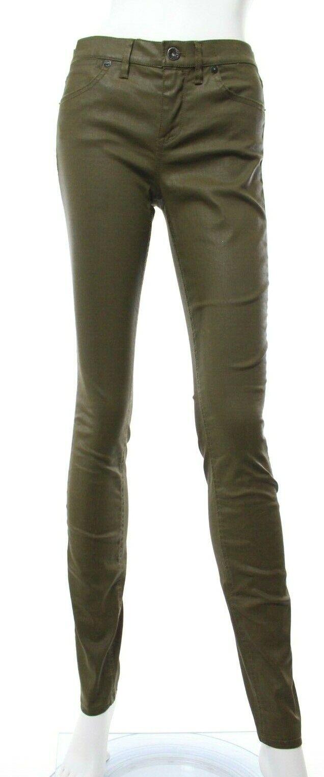 Madewell Women's 27 x 32 Olive Green Skinny Skinny Coated Jeans Stretch Wax EUC