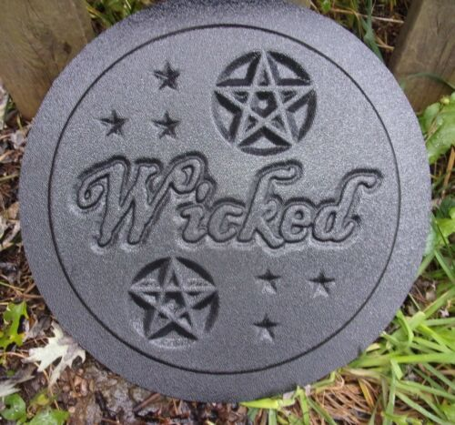 """Wicked plaque plastic mold concrete plaster gothic mould  10/"""" x 3//4/"""" thick"""
